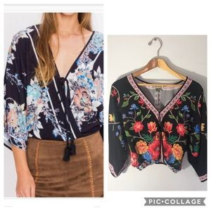 Flying Tomato Faux Wrap Floral Crop Boho Top